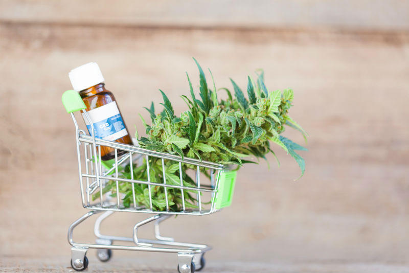 Shopping CBD oil in small trolleys