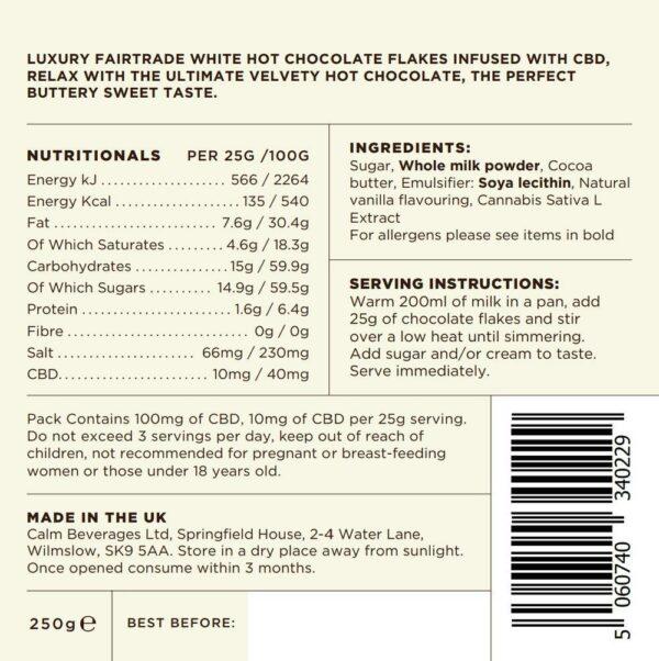 Calm CBD White Belgian Hot Chocolate Product Declaration