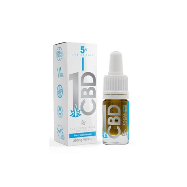 1CBD 250mg CBD Oil 5% Pure Hemp Lite Edition 5ml