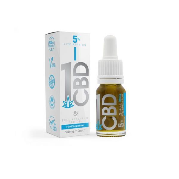 1CBD 500mg CBD 5% Pure Hemp 500mg CBD Oil Lite Edition 10ml