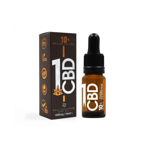 1CBD 1000mg CBD Oil 10% Pure Hemp Bronze Edition 10ml