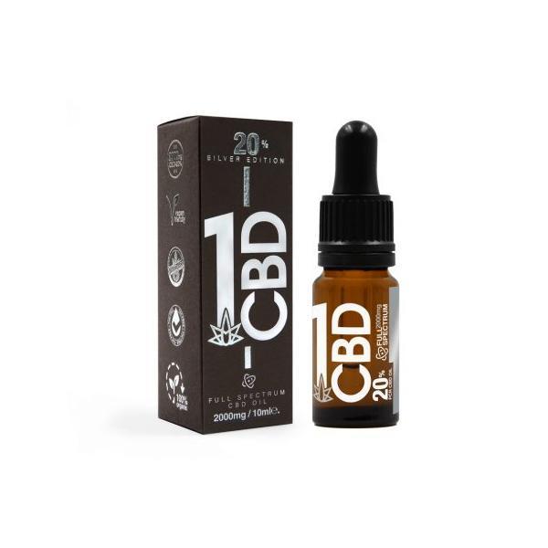 1CBD 20% Pure Hemp 2000mg CBD Oil Sliver Edition 10ml