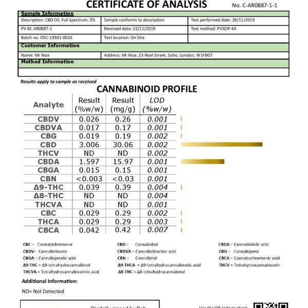 Mr Nice 5% 500mg CBD Oil Drops 10ml Certificate