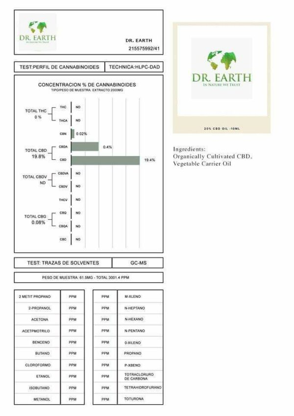 DR. Earth 2000mg CBD Broad Spectrum CBD Oil 10ml