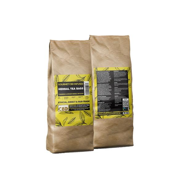 Equilibrium CBD Gourmet Herbal 100 Tea Bags Bulk 340mg CBD - Ginger & Turmeric