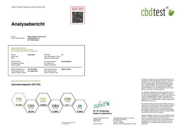 Alpinols 20% Full Spectrum 2000mg CBD Oil 10ml Certificate