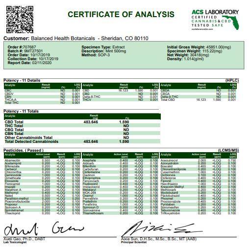 CBDistillery 500mg CBD E-Liquid 30ml (85VG/15PG) Certificate of Analysis