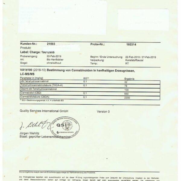 Ultracalm 1.5% CBD Hemp Tea - Cherry Bakewell 40g Certificate