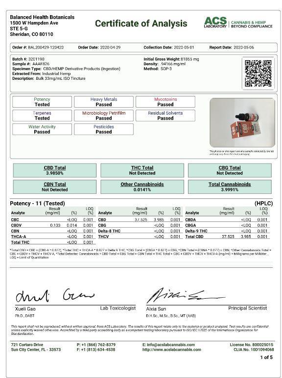 CBDistillery 1000mg CBD Relief + Relax Oil Extra 30ml Lab Certificate