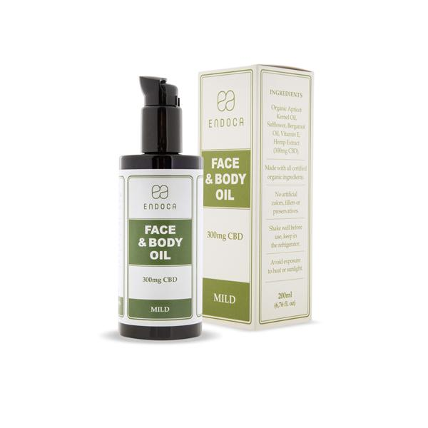 Endoca 300mg CBD Face & Body Oil – 200ml