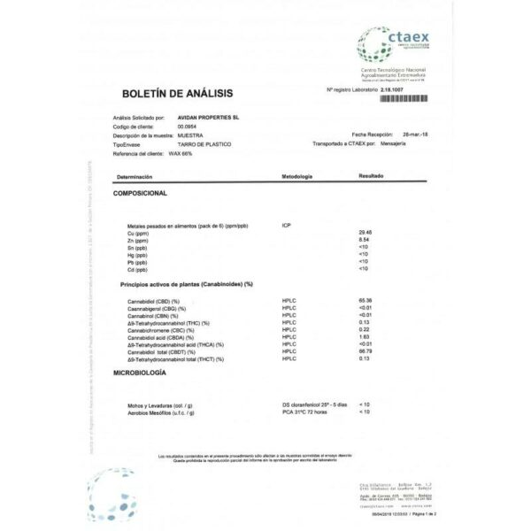 CBD Wax 0.5G Tutti Frutti 66%