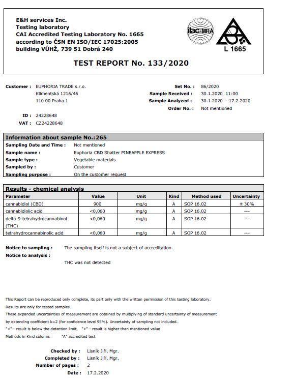 Euphoria 93mg CBD Shatter Pineapple Express 0.1g Certificate