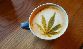 Coffee with CBD leaf decoration